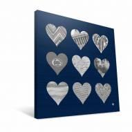 """Penn State Nittany Lions 12"""" x 12"""" Hearts Canvas Print"""