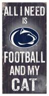 "Penn State Nittany Lions 6"" x 12"" Football & My Cat Sign"