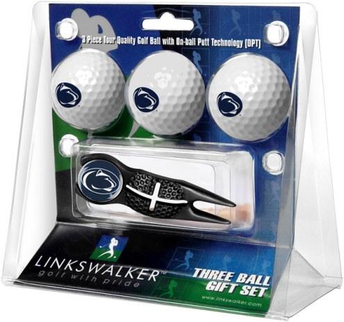 Penn State Nittany Lions Black Crosshair Divot Tool & 3 Golf Ball Gift Pack