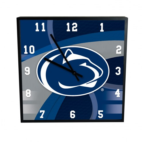 Penn State Nittany Lions Carbon Fiber Square Clock
