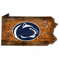 Penn State Nittany Lions Distressed State with Logo Sign
