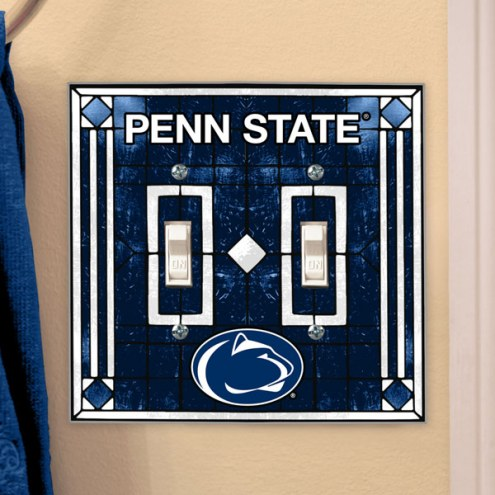 Penn State Nittany Lions Glass Double Switch Plate Cover