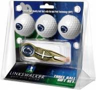 Penn State Nittany Lions Gold Crosshair Divot Tool & 3 Golf Ball Gift Pack