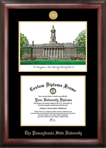 Penn State Nittany Lions Gold Embossed Diploma Frame with Lithograph