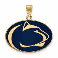 Penn State Nittany Lions Sterling Silver Gold Plated Large Enameled Pendant