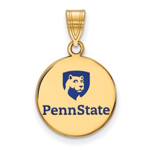 Penn State Nittany Lions Sterling Silver Gold Plated Medium Enameled Disc Pendant