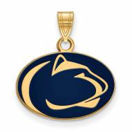 Penn State Nittany Lions Sterling Silver Gold Plated Small Enameled Pendant