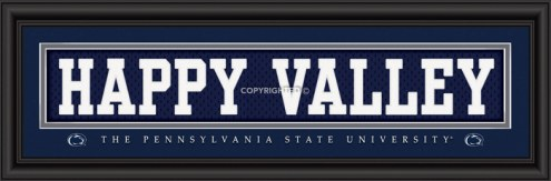 """Penn State Nittany Lions """"Happy Valley"""" Stitched Jersey Framed Print"""
