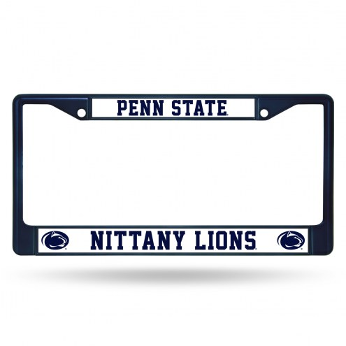 Penn State Nittany Lions Navy Colored Chrome License Plate Frame