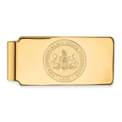 Penn State Nittany Lions Sterling Silver Gold Plated Crest Money Clip
