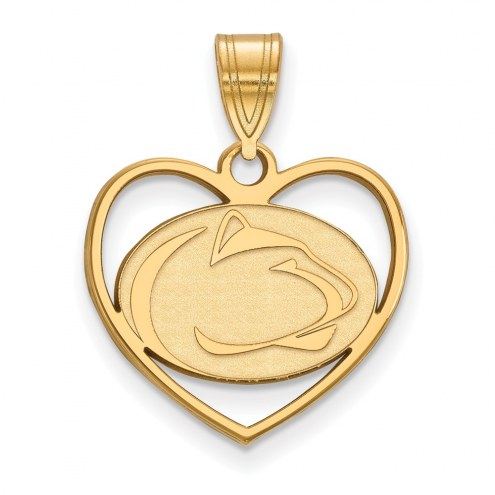 Penn State Nittany Lions Sterling Silver Gold Plated Heart Pendant