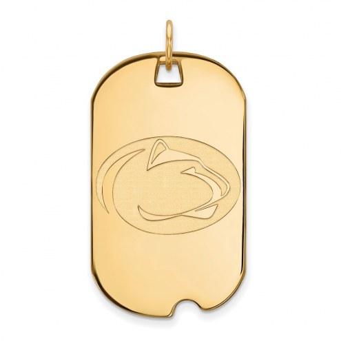 Penn State Nittany Lions Sterling Silver Gold Plated Large Dog Tag