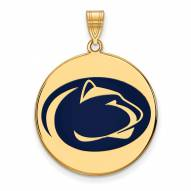 Penn State Nittany Lions Sterling Silver Gold Plated Extra Large Enameled Disc Pendant