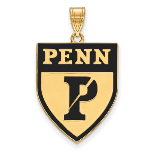 Pennsylvania Quakers Sterling Silver Gold Plated Extra Large Enameled Pendant