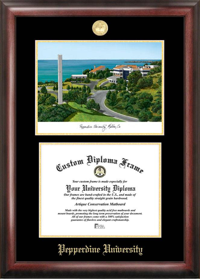 Pepperdine Waves Gold Embossed Diploma Frame with Lithograph