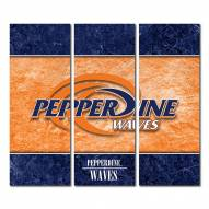 Pepperdine Waves Triptych Double Border Canvas Wall Art
