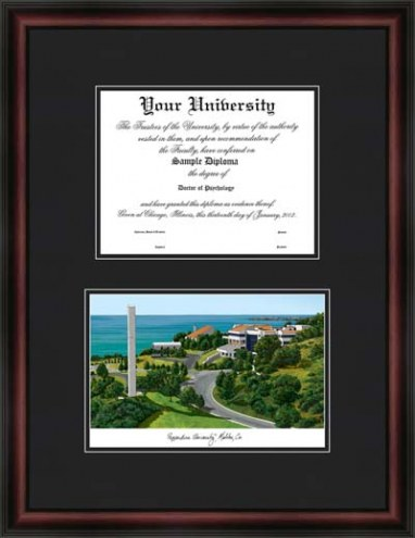 Pepperdine University Diplomate Framed Lithograph with Diploma Opening