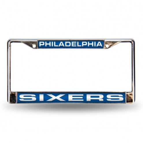 Philadelphia 76ers Blue Laser Chrome License Plate Frame