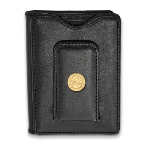Philadelphia 76ers Sterling Silver Gold Plated Black Leather Wallet