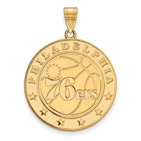 Philadelphia 76ers Sterling Silver Gold Plated Extra Large Pendant