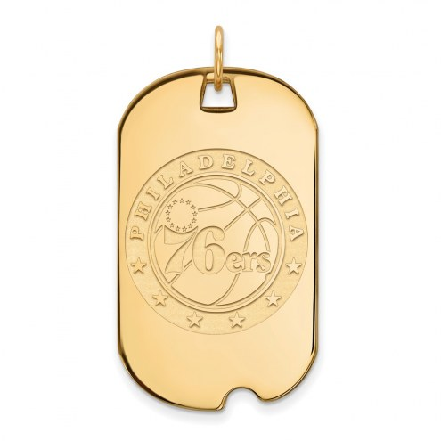 Philadelphia 76ers Sterling Silver Gold Plated Large Dog Tag