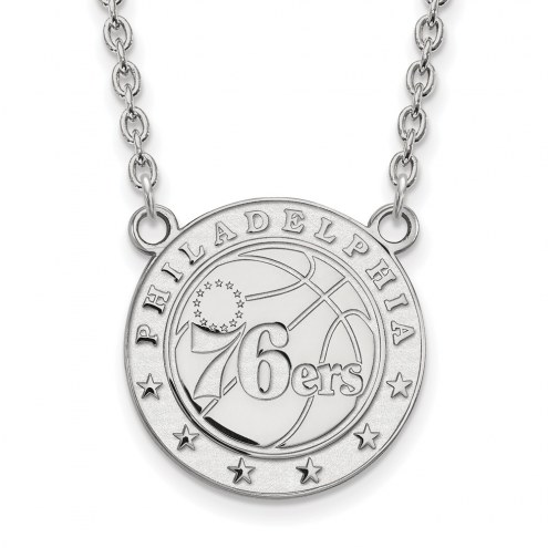 Philadelphia 76ers Sterling Silver Large Pendant Necklace
