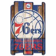 Philadelphia 76ers Wood Fence Sign