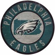 """Philadelphia Eagles 12"""" Circle with State Sign"""