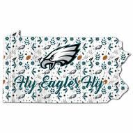 """Philadelphia Eagles 12"""" Floral State Sign"""