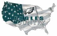 """Philadelphia Eagles 15"""" USA Flag Cutout Sign"""