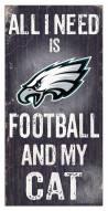 "Philadelphia Eagles 6"" x 12"" Football & My Cat Sign"