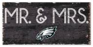 """Philadelphia Eagles 6"""" x 12"""" Mr. & Mrs. Sign"""