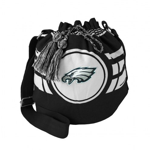 Philadelphia Eagles Black Ripple Drawstring Bucket Bag
