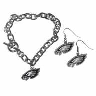 Philadelphia Eagles Chain Bracelet & Dangle Earring Set