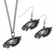 Philadelphia Eagles Dangle Earrings & Chain Necklace Set