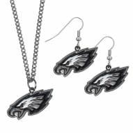 Philadelphia Eagles Dangle Earrings & Chain Necklace Set
