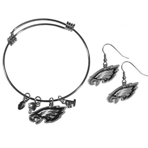 Philadelphia Eagles Dangle Earrings & Charm Bangle Bracelet Set