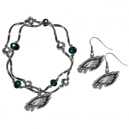 Philadelphia Eagles Dangle Earrings & Crystal Bead Bracelet Set