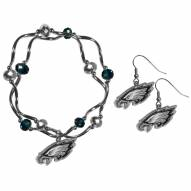 Philadelphia Eagles Dangle Earrings & Crystal Bead Bracelet Set