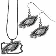 Philadelphia Eagles Dangle Earrings & State Necklace Set