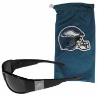 Philadelphia Eagles Etched Chrome Wrap Sunglasses & Bag