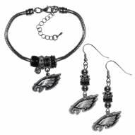 Philadelphia Eagles Euro Bead Earrings & Bracelet Set