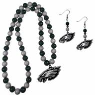 Philadelphia Eagles Fan Bead Earrings & Necklace Set