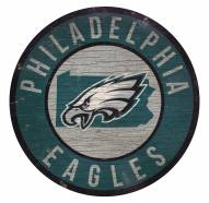 Philadelphia Eagles Round State Wood Sign