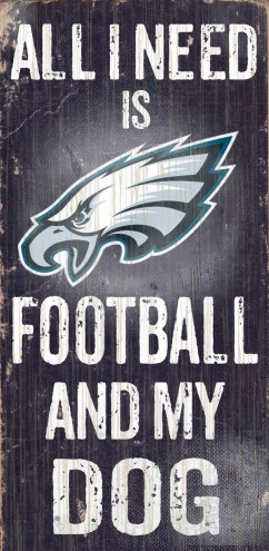 Philadelphia Eagles Football & Dog Wood Sign