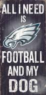 Philadelphia Eagles Football & Dog Wood Sign