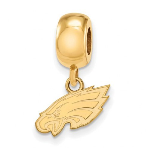 Philadelphia Eagles Sterling Silver Gold Plated Extra Small Dangle Bead Charm