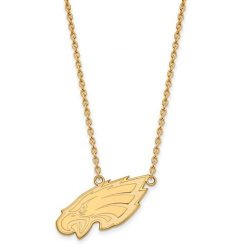 Philadelphia Eagles Sterling Silver Gold Plated Large Pendant with Necklace