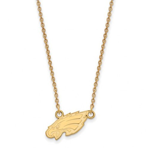 Philadelphia Eagles Sterling Silver Gold Plated Small Pendant with Necklace