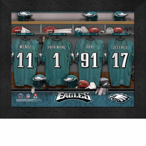 Philadelphia Eagles NFL Personalized Locker Room 11 x 14 Framed Photograph